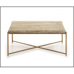 Mesa centro metal-madera 90x90x40